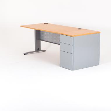 Bureau droit avec caisson hauteur bureau métal
