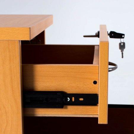 Caisson à roulettes en bois, 1 tiroir et 1 tiroir pour dossiers suspendus