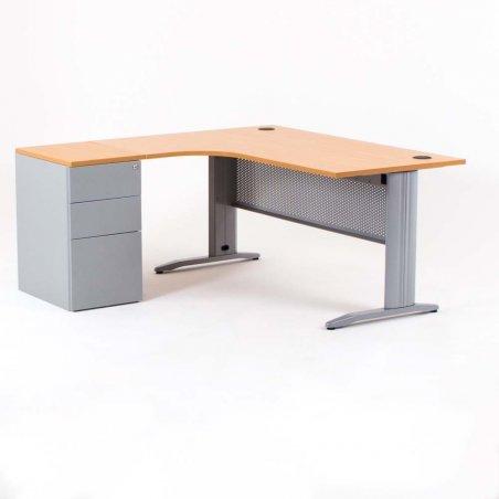 Bureau compact avec caisson hauteur bureau P.60 cm, métal