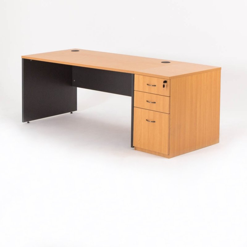 bureau droit avec caisson madera pour professionnel bd. Black Bedroom Furniture Sets. Home Design Ideas
