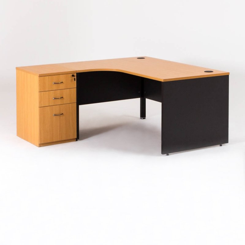 bureau d 39 angle avec caisson compact madera bd mobilier. Black Bedroom Furniture Sets. Home Design Ideas