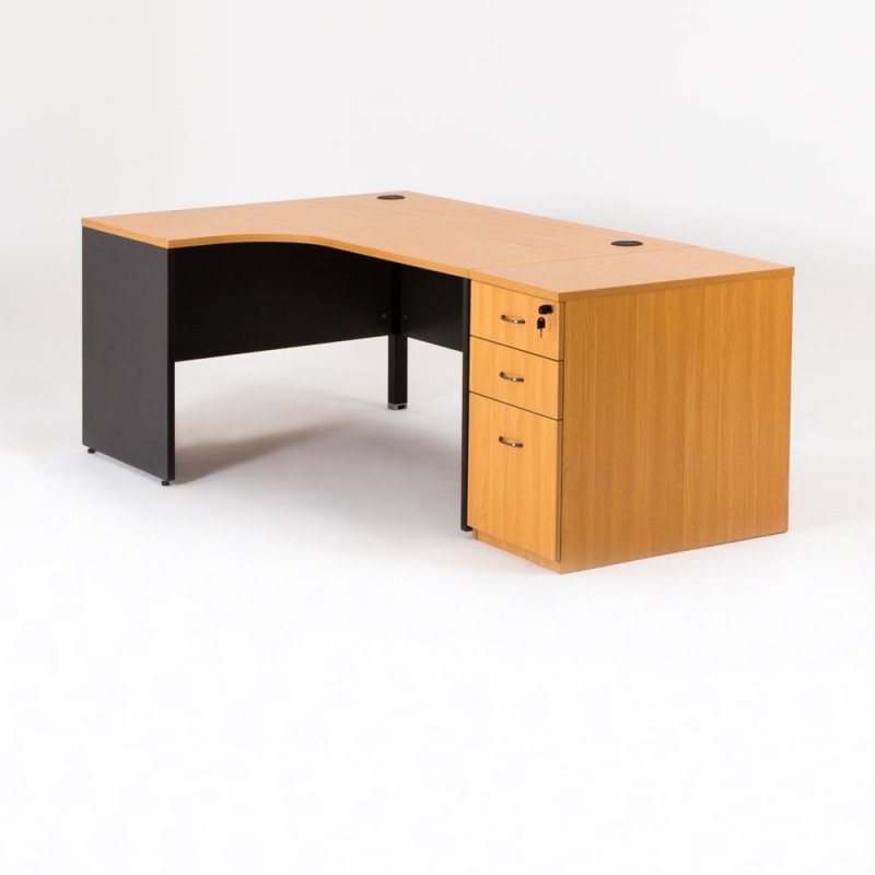 bureau d 39 angle cm avec caisson compact madera bd mobilier. Black Bedroom Furniture Sets. Home Design Ideas