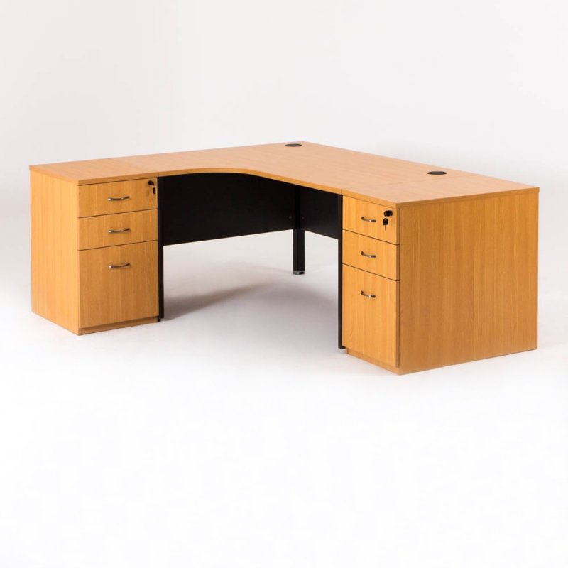 bureau d 39 angle compact madera 2 caissons hauteur. Black Bedroom Furniture Sets. Home Design Ideas