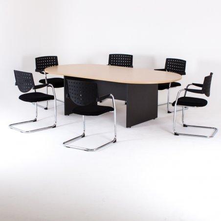 Table ovale, piétement panneau