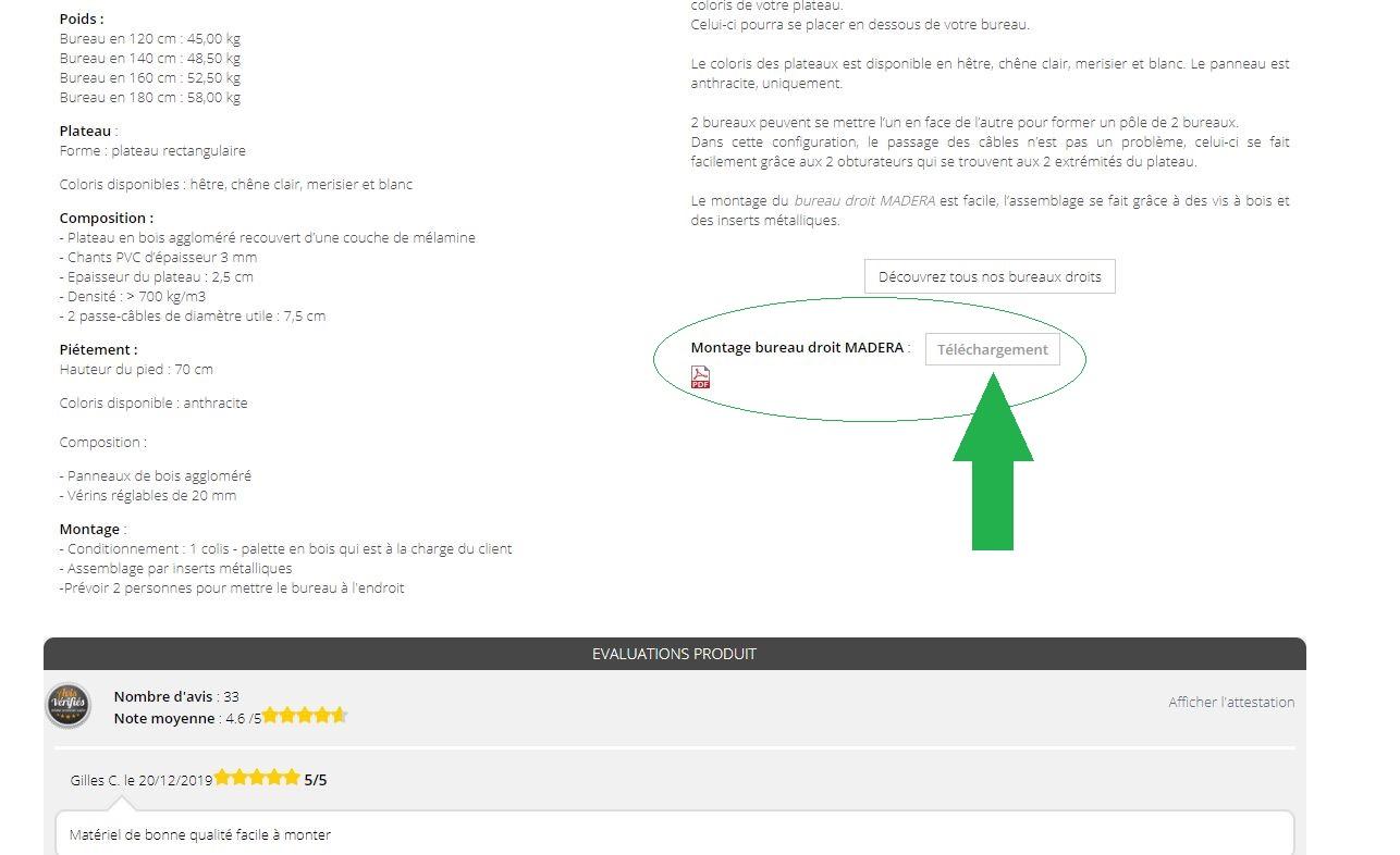 Indication sur l'emplacement de la notice de montage sur la fiche technique