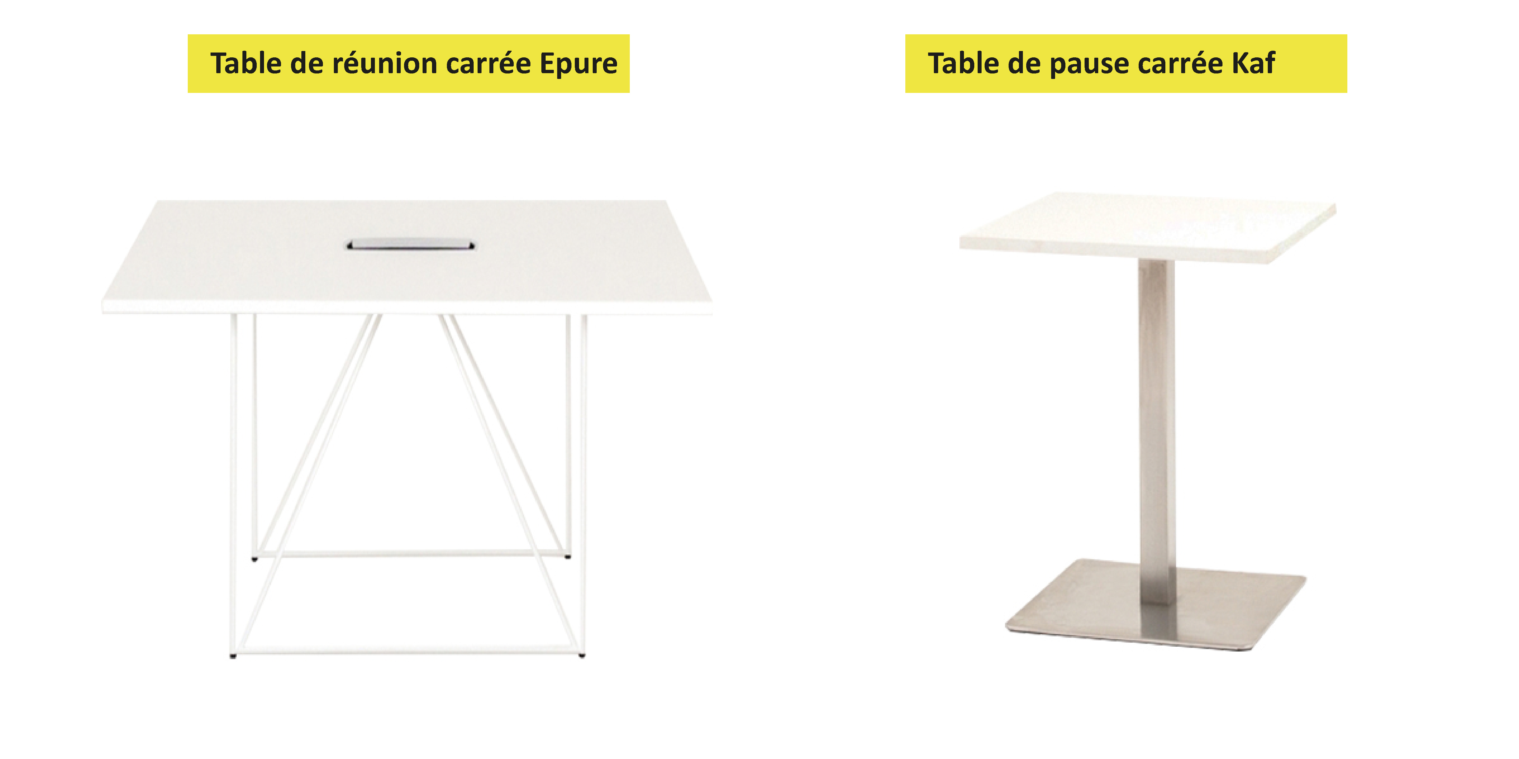 table de réunion plateau carré