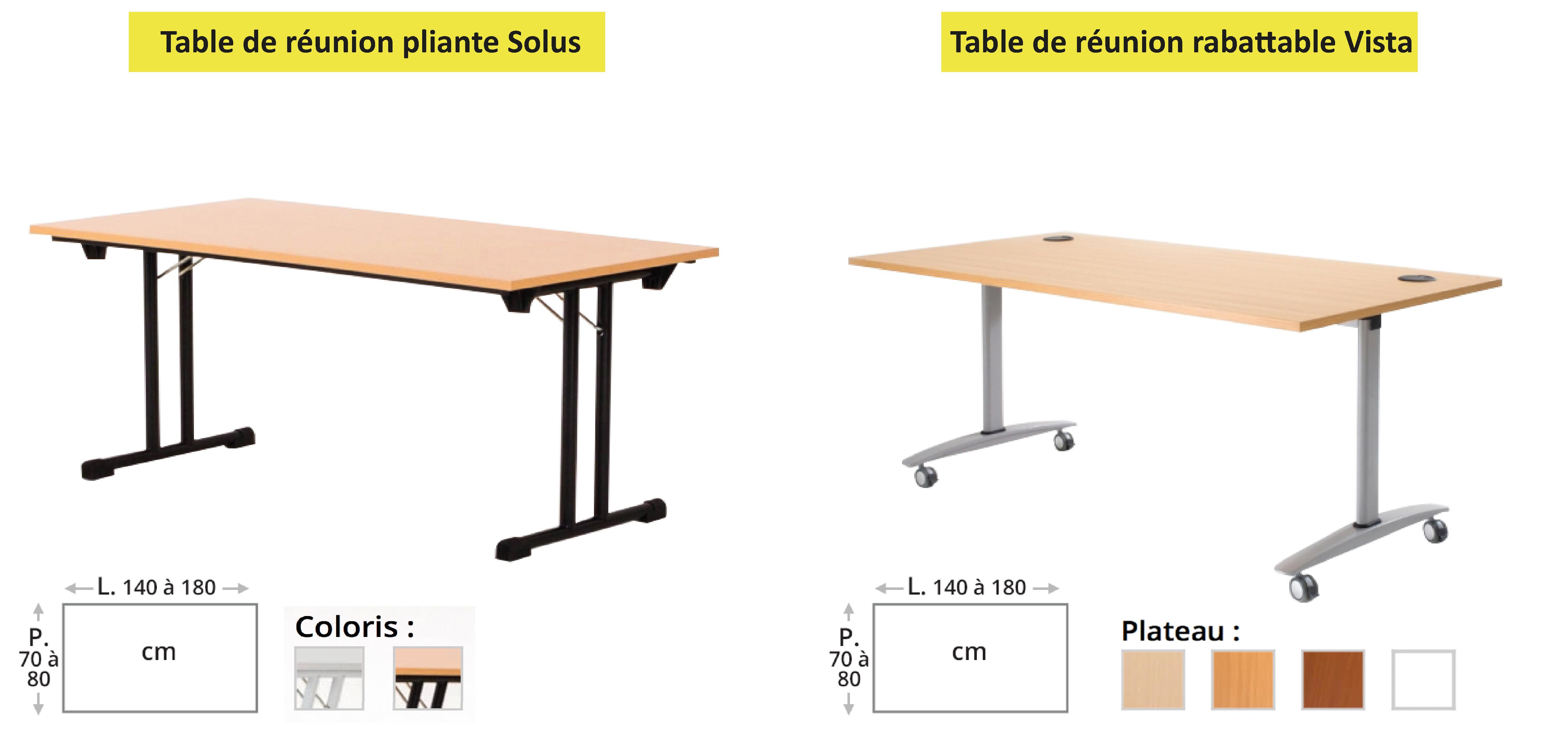 tables de réunion pliantes et rabatables