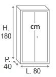H.180 x L.80 x P.40 cm