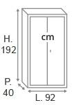 H.192 x L.92 x P.40 cm