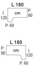 L.180 x l.120 x P.60/80 cm