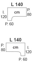 L.140 x l.120 x P.60/80 cm