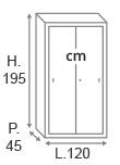 H.195 x L.120 x P.45 cm