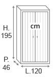 H195 x L120 x P46 cm