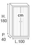 H180 x L100 x P40 cm