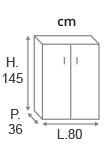 H.145 x L.80 x P.36 cm