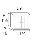 H135 x L120 x P46 cm